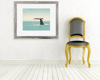 whale tail photo ocean sea photograph nature fine art photography wall decor aqua green yellow
