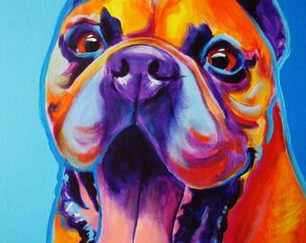 Boxer, Pet Portrait, DawgArt, Dog Art, Boxer Art, Pet Portrait Artist, Colorful Pet Portrait, Pet Portrait Painting, Art Prints, Art