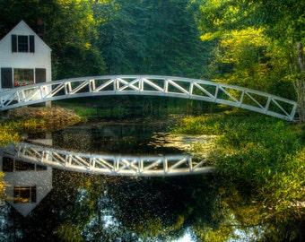 Somesville Bridge Fine Art Photograph Footbridge and Pond Mt. Desert Island Maine Zen Reflection Acadia National Park Water Green Home Decor
