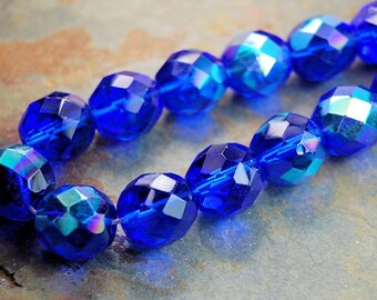 12mm AB Cobalt Blue Czech Glass Beads   - 8