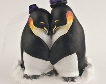 Penguin Love Wedding Cake Topper