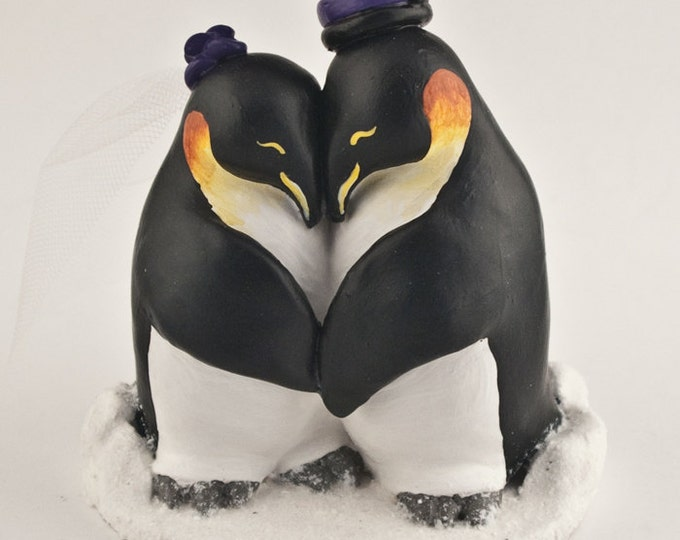 Penguins in Love Custom Wedding Cake Topper