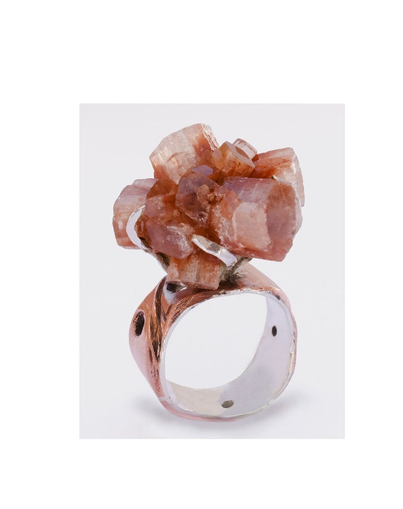 Natural crystal formation, copper and silver Aragonite Ring- size 8.5