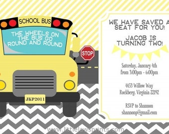 Wheels on the Bus Invitation