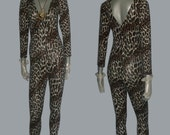POYZA Animal Leopard Print  Stretch Bodycon Double V-nk Long Sleeves Stirrup Catsuit Bodysuit Jumpsuit
