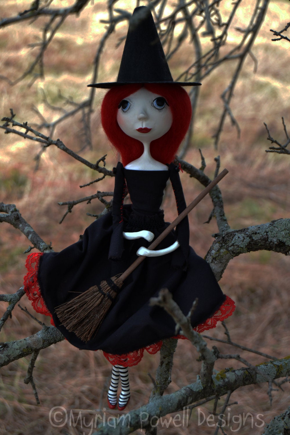 Witch Art Doll Halloween Art Doll Witch By Myriampowelldesigns