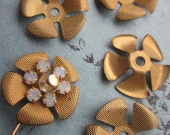 Vintage Metal Cross Hatched  Flowers