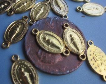 "Twelve  Italian Religious Gold ""Miraculous Mary Connectors"
