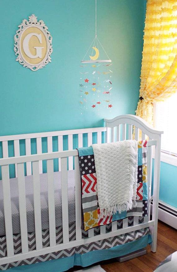 Yellow nursery bedding : Yellow grey and aqua crib bedding