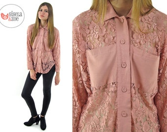 Vintage 90s Dusty Pink Lace Top ΔΔ Button Up Lace Top ΔΔ sm / md