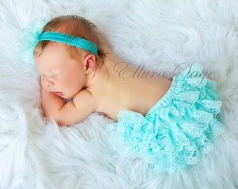 YOU CHOOSE COLOR - Lace Ruffle Baby Bloomers, Lace Diaper Covers, Baby Bloomers, Photography Prop