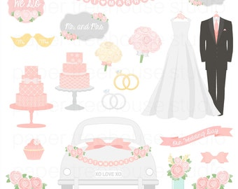 Clip Art Set - Wedding Day - Bride Groom Cake Dress Flowers Bouquet Banner - 27 Printable Digital Files - JPG and PNG Format - ID 236