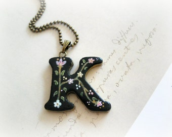 Versailles - Initial monogram necklace floral letter personalized clay pendant original painting white black flower leaves botanical jewelry