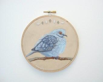 """Diamond Dove Hoop Art - Dove Art - Dove Painting - Original Acrylic Painting of a Diamond Dove on a 6"""" Embroidery Hoop"""