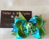 Monsters Inc. Inspired Layered Bow -  Mike Wazowski