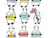 Printable Thank You Card - 2 per page - Sheep Themed - Many thank ewes