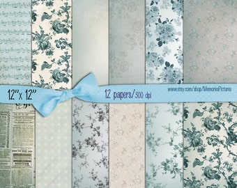 Light blue //  Digital Scrapbooking Papers pack,   Romantic Roses Background 12x12  //   to  INSTANT Download (56)