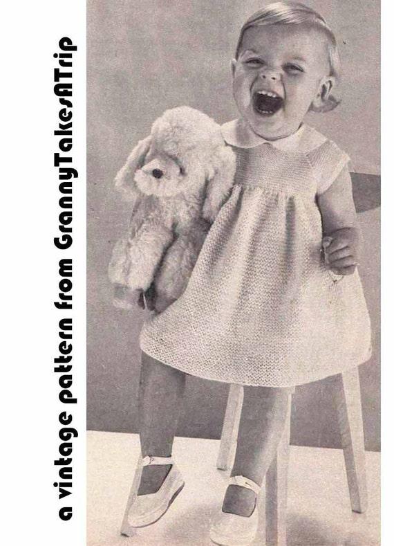 Baby Dress Set 1950s VINTAGE KNIT PATTERN Easy Knit Dress