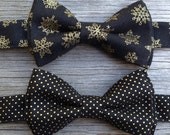 Black and Gold Bow Tie - Black and Gold Ties - Snowflake Bow Tie - Gold Wedding - Christmas Bow tie - Gold Bow Tie for Boys - Christmas Tie