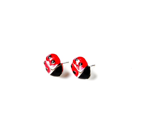 Ladybug Stud Earrings - Accessories - Women's Jewelry - Gift Idea - Handmade - Gift Box Included