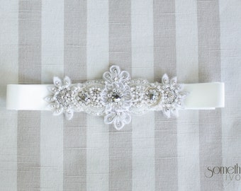 GEMMA - Beaded Bridal Sash, Wedding Belt