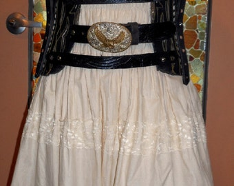 Handmade Vintage Cowboy Boot Corset with Western belts and Harness OOAK