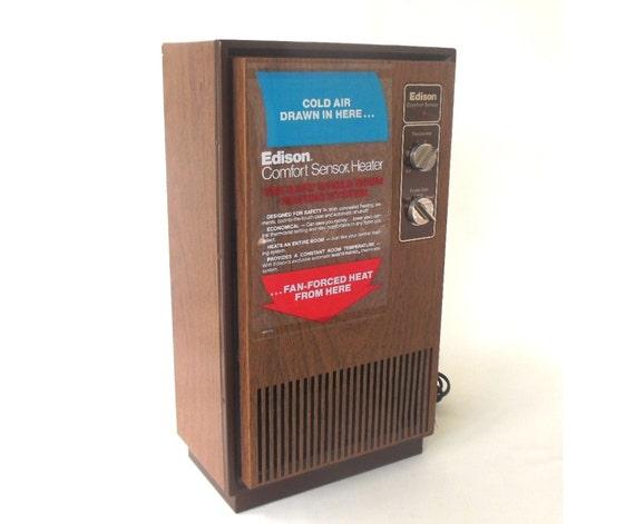 Space Heater Vintage 1970s Edison Comfort Sensor 324029h Wood