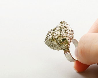 Natural pyrite ring: rough stone ring, sterling silver raw crystal ring, big cocktail ring, unique raw gemstone ring big stone ring