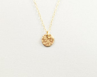 Tiny 14K gold filled necklace - hammered simple necklace minimal jewelry small disc