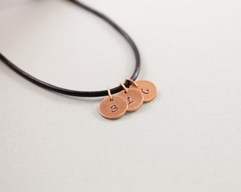 Personalized fathers jewelry, custom fathers necklace with initials, personalized father's day gifts, jewelry for men, leather and copper
