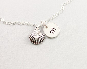Seashell initial necklace - sterling silver personalized necklace, summer customized jewelry seashell necklace