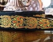 "1.375"" Vintage Palmette Beauty Black/gold embroidered Jacquard ribbon trim # 404-00"