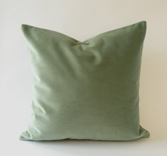 18x18 Seafoam Green Cotton Velvet Pillow Cover - Decorative Accent Throw Pillows - Invisible Zipper Closure - Knife Or Piping Edge