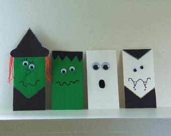 Set of eight Halloween goodie bags - Witch Goodie Bags- Frankenstein Monster Goodie Bags - Ghost Goodie Bags - Vampire Goodie Bags
