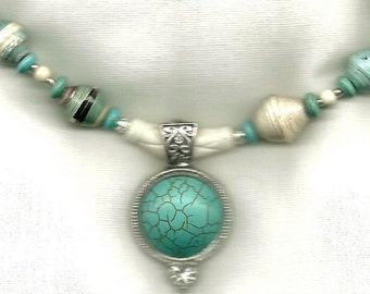SUPPORT WOMEN: Turquoise Howlite pendant with Paper beads necklace