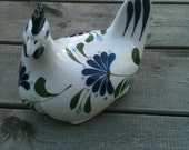 Dansk Hen Figurine With Blue and White Decoration