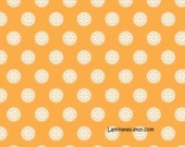 LAMINATED cotton fabric by the yard (similar to oilcloth) - Madhuri orange circles - Approved for children's products