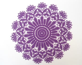 crochet Doily , purple , violet , round , 13 inches