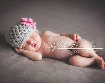 Cluster Beanie Newborn Hat, Newborn Photography Props, Newborn Girl Props, Newborn Prop Hats, Handmade Newborn Photo Props