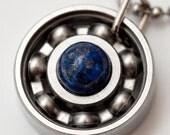 Lapis Lazuli Roller Derby Skate Bearing Pendant Necklace