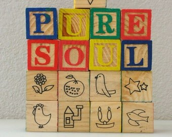 PURE SOUL Block Alphabet Wooden Blocks Reversible ABC Set of 17 Cute Graphics Wood Blocks  from The Back part of the Basement
