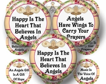 Angel Sayings, 1 Inch Circles, Digital Collage Sheet, Bottle Cap Images, Instant Digital Download, Cabochons, Cupcake Toppers, Pendants