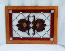 Beveled stained glass panel window Victorian red purple stained glass window panel window hanging large transom wood frame