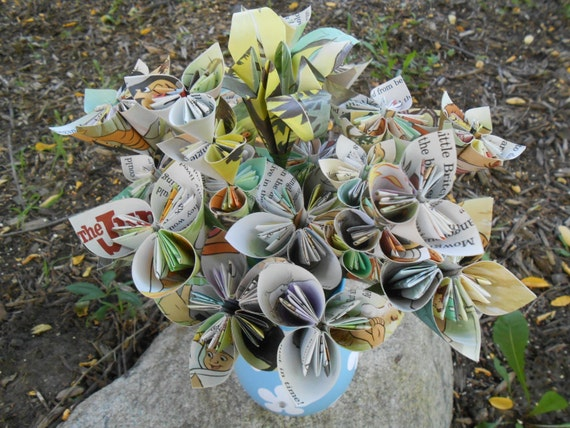 """Upcycled """"Jungle Book"""" Paper Flower Bouquet, Disney Origami Paper Flowers. Birthday Decoration, Centerpiece. Children's Room Decor."""