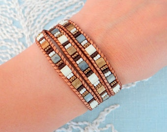 Leather Wrap Bracelet With Tila Beads
