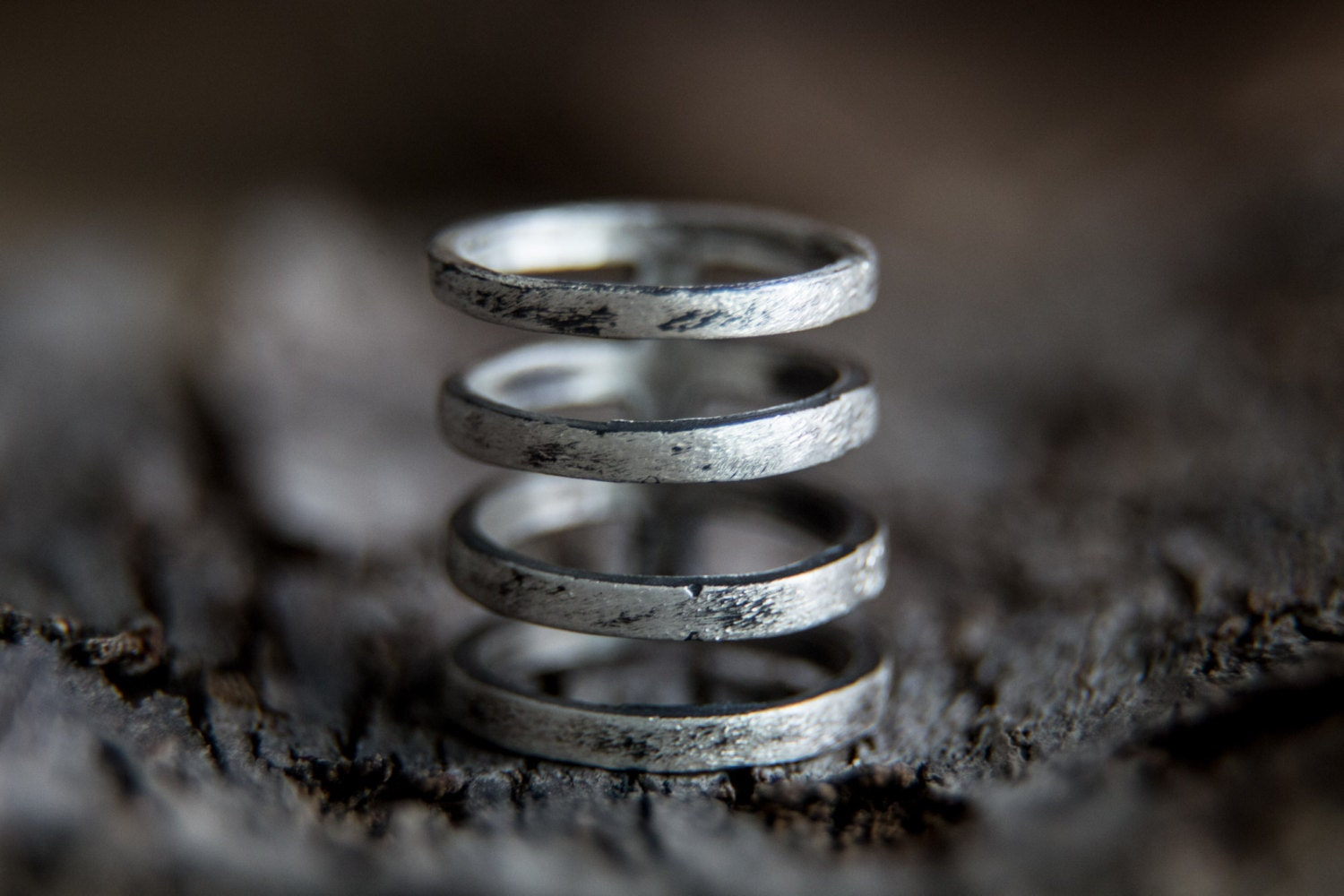 cage ring sterling silver wide band index finger