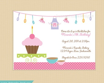 Baking . Cooking . Birthday Party . Invitation . Any colors