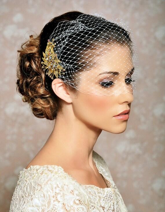 gold bridal veil and bridal comb bandeau birdcage veil. Black Bedroom Furniture Sets. Home Design Ideas