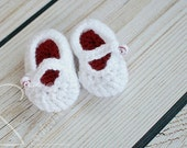 Baseball Crochet Mary Jane Slipper Booties - Girl Warm Winter Spring Boutique Shoes - MADE TO ORDER