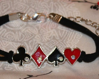 Lucky Clubs Diamonds Spades Hearts Enameled Soft Black Suede Bracelet Rhinestones Black Red Queen of Hearts Harlequin Handmade Unique New